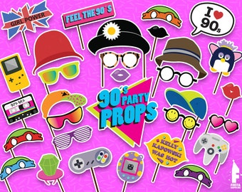 Printable 90s Photo Booth Props - Printable 90s party props- Instant Download 90s theme props - 90s theme party - Retro Props