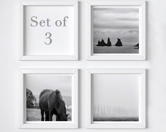Iceland print set of 3 - Sale 25% OFF - Black and white minimal photos - Travel wall decor set - Small art gift - Stocking stuffer - 5x5