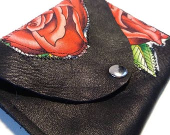 Leather Textile Red Rose Coin Purse