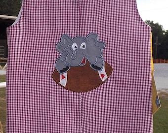 Alabama elephant on footbal Alabama jon jon crimson gingham sizes 9 month 1T 2T 3T