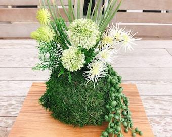 Kokedama - Artifitial plant, silkflower Kokedama Arrangement. No need to water. Carefree.