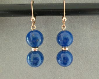 Lapis Lazuli and Gold-Filled Beads on Lever-Back Dangle Earrings