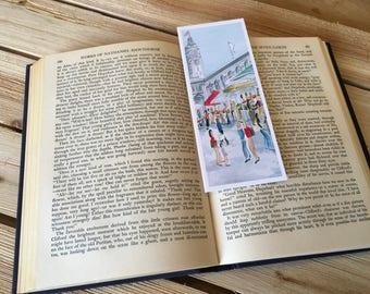 "Bookmark ""Ferry Building Market""; Artsy Bookmark; Whimsical Bookmark; San Francisco; Book Gift; Laminated; Handmade; Watercolor Bookmark"