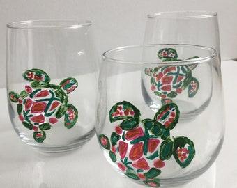 Painted  Stemless Wine Glasses  - Impressionistic Tribal Sea Turtle