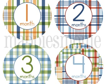 Monthly Baby Stickers Baby Boy Month Stickers Milestone Stickers Monthly Photo Stickers Bodysuit Stickers Blue Green Orange Plaid (Paxton)