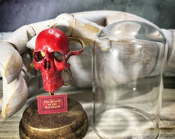 Red Mask - Red Masque - Allan Poe Tribute - Mini Glass Dome Display - The Masque of Red Death - Skull - 2.75 x 1.73 inches / 7 x 4,4 cm