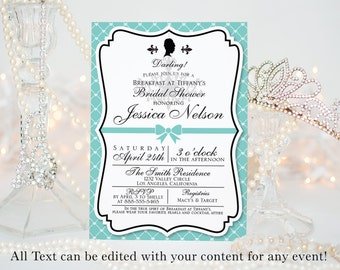 "Breakfast at Tiffany's Invitation || Bridal Showers, Birthday Party, Bachelorette Parties, & more || Custom Digital Download || 5""x7"" 