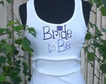 TankTop Bride Embroidered Custom Colors Bride to Be Photo Shoot Shower Gift, Free Shipping