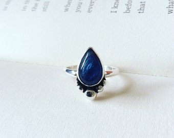 Ocean Deep - Kyanite Teardrop Sterling Silver Ring