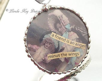 Friends are Angels Ornament A Girl and Her Doll Soldered Glass Hanging Ornie Inspiring Ornament One-of-a-Kind Lorelie Kay Original