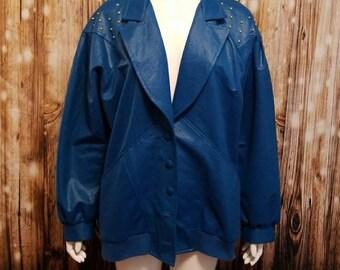 "Vintage, 80's, Jo Hardin ""new romantics"" metallic blue studded jacket, Medium/Large"