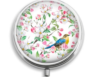 Spring Bird on Pink and White Flowers Background Pill Box Case Trinket Box Vitamin Holder Medicine Box Mint Tin Gifts For Her