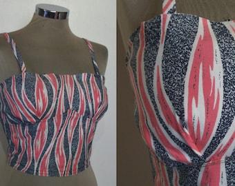 "Cool 1950s novelty print cotton sun top w/ flames!  bust 36"""