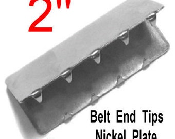 "12 PIECES - 2"" - HEAVY Metal Belt End Tip - NICKEL Plate Finish"
