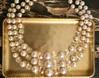 Vintage Faux Pearl and Rhinestone Necklace