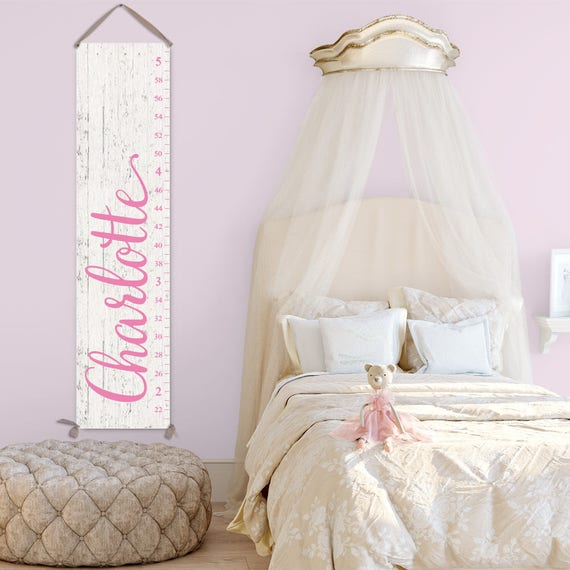 Canvas Growth Chart Ruler for Girl - Personalized Growth Chart, Wood Growth Chart Alternative, Pink Growth Chart - GC0126P