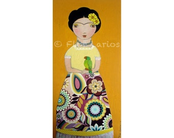 Frida Kahlo with Parrot Print  from Original Mixed Media Folk Art Painting by FLOR LARIOS ( 5 x 10 inches)