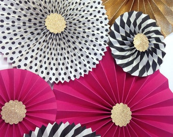 Hot Pink Black and Gold Glitter | Pink and Black Glitter Backdrop | Black and White Stripe Paper Fans | Bridal Shower | Bachelorette Party
