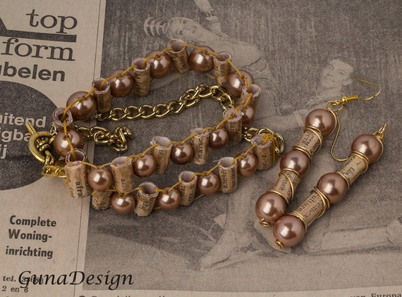 Paper and glass bead wrap bracelet and dangle earrings