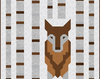 Wolf in the Woods Quilt Pattern, PDF Instant Download modern patchwork baby or double size bedding animal grey brown black blue