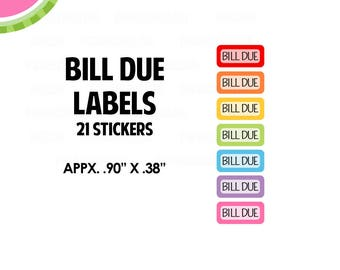 Bill Due Month Label | REGULAR Size | Planners, Calendars |  LB034
