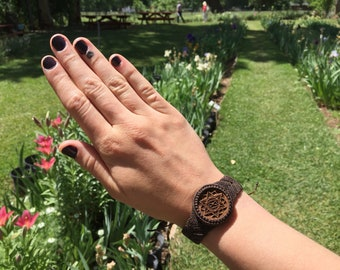 Wood Sacred geometry bracelet cuff! (Wooden laser tree cab!)