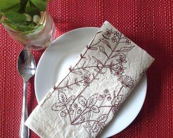 Rosebud walk wildflowers screen printed cotton napkins