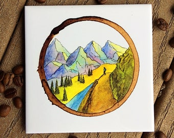 Tile coaster, Overlook, Hiking, Home Decor, Drinkware, Coaster Set, Hiking Coaster, Hiking Art, Mountains, Nature, Outdoors