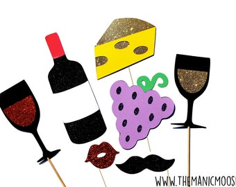 Photo Booth Props ~ Winery Collection ~ Set of 7 Wine Themed Photobooth Props with GLITTER