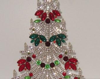 Sparkly Czech Flass Stone Rhinestone Vintage Christmas Tree