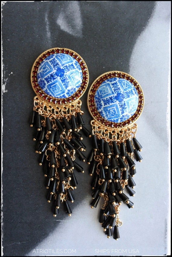 Beaded Earrings Blue Tile Cluster Waterfall Portugal Blue Antique Azulejo Tile - Ovar (see photo)  - Gift Box Included - stud