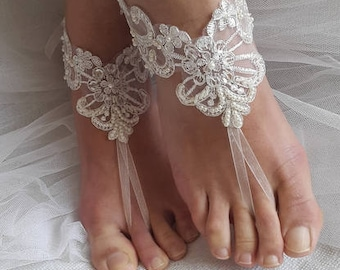 barefoot sandals, wedding shoes, summer shoes,beach shoes,Beaded ivory lace wedding sandals, free shipping!