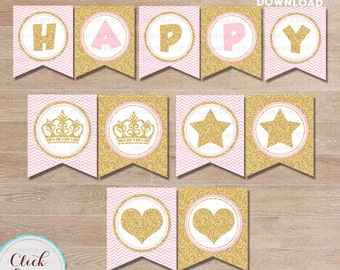 Pink and Gold Birthday Banner, Gold Glittler, Princess Pennant, Chevron printable bunting, Sprinkle, party decorations, Party supplies
