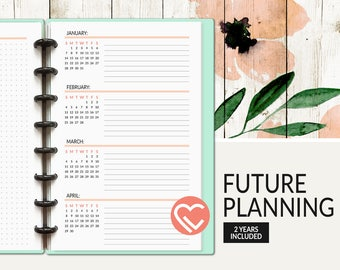 Future Planning | 2017 - 2018 | 3 Sizes | Digital Planner Pages | Instant Download Printable PDF | Future, Monthly Planner, Log, Goals, Year