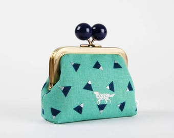 Metal frame coin purse with color bobble - Triangle in teal - Color dad / Japanese fabric / Echino / metallic silver wolf / turquoise blue