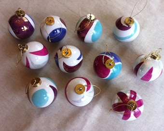 Christmas baubles in Limoges porcelain