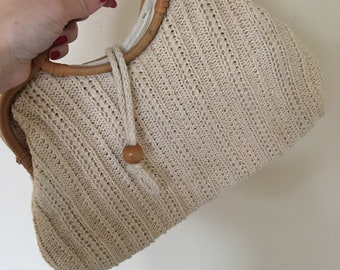 Vintage Cream Knit Detail Bamboo Handle Clutch Purse