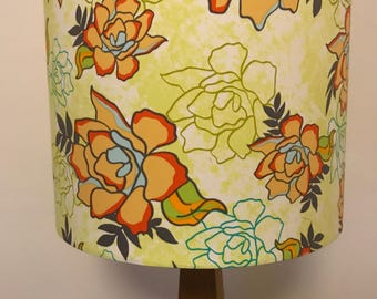 Colourful Flowers on Light green background Lampshade