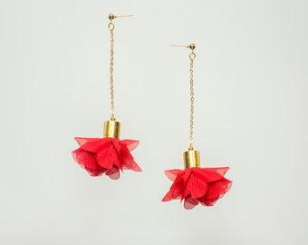 Statement Jewelry Statement Earrings Floral Earrings Boho Earrings Red Earrings Gold Earrings Long Earrings Dangle Earrings/ CICI