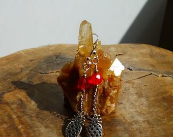 Earring pendant pineapple - orange beads