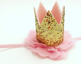 Mini Gold Crown, Crown Headband, Pink and Gold Crown, First Birthday Crown, Gold Crown Headband, Pink Crown Headband, Gold Birthday Crown