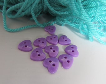 Lilac Heart Buttons 12mm