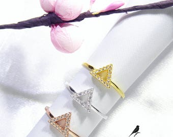 Triangle V Ring Single Cz Gold Vermeil 925 Sterling Silver Rose