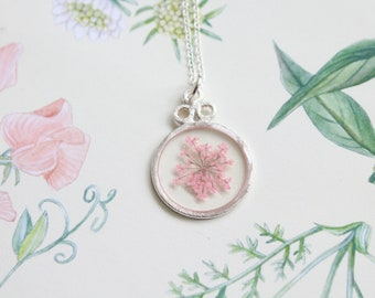 Light Pink Queen Anne's Lace Pressed Flower Necklace