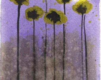 Watercolor Painting: Watercolor Flower Painting -- Mini Art Print -- Lemon Drop Flowers -- Yellow Flowers  -- ACEO Print