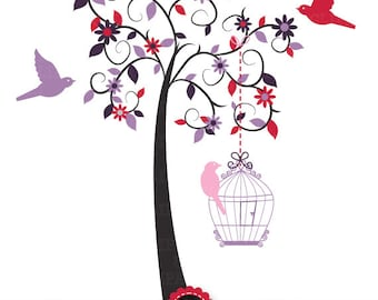 """Tree Clipart """"WEDDING TREE"""" clip art,Tree,Love Tree,Save The Date,Birdcages,Love bird,perfect for Wedding invitation, Instant Download Pg015"""