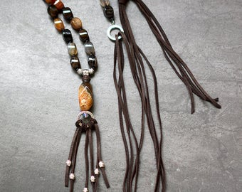 Long Earthy Agate Necklace with a Tasse  Leather  Adjustable