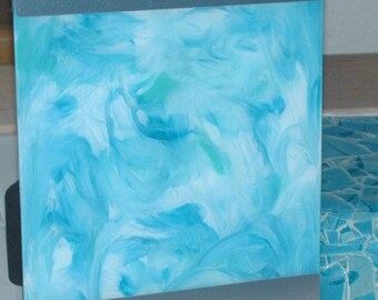 Candied Blue Skies Glass Table Art