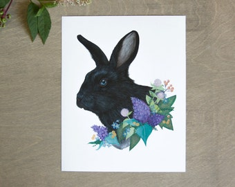 Black Rabbit and Floral Print 11x14, Woodland Art Print Illustration