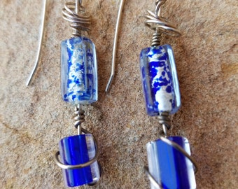 Sterling Silver dangles with blue lampwork beads